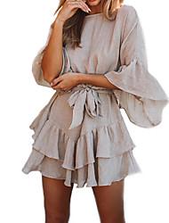 Недорогие -Жен. Классический / Элегантный стиль Вспышка рукава Оболочка Платье - Однотонный, Шнуровка Выше колена