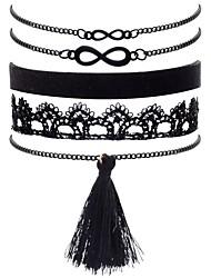 abordables -Mujer Borla Cadenas y esclavas - Tela de Encaje infinito Vintage, Moda, Elegante Pulseras y Brazaletes Negro Para Noche / Cumpleaños / 5pcs