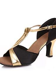 baratos -Mulheres Sapatos de Dança Latina Cetim Sandália Salto Cubano Personalizável Sapatos de Dança Preto / Camel