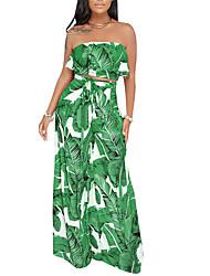 abordables -Mujer Boho / Chic de Calle Conjunto - Floral, Volante / Estampado Pantalón