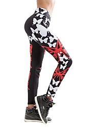baratos -Mulheres Calças de Yoga Esportes Geométrica Meia-calça Corrida, Fitness, Ginásio Roupas Esportivas Secagem Rápida, Respirabilidade, Confortável Micro-Elástica