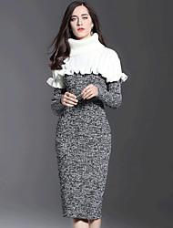 baratos -Mulheres Para Noite Skinny Tricô Vestido Gola Redonda Cintura Alta Altura dos Joelhos