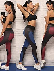 baratos -Mulheres Calças de Yoga - Azul, Vinho Esportes Elastano Meia-calça / Leggings Corrida, Fitness, Exercite-se Roupas Esportivas Respirável, Macio, Compressão Com Stretch