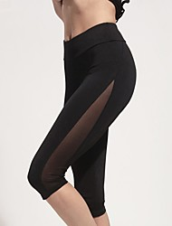 cheap -Women's Patchwork Yoga Pants - Black Sports Solid Color Spandex 3/4 Tights Fitness, Gym Activewear Quick Dry, Breathable, Compression Stretchy