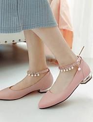 abordables -Femme Chaussures Cuir Nappa Eté Confort Ballerines Talon Bas Bout pointu Imitation Perle Blanc / Bleu / Rose