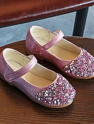 abordables -Fille Chaussures Polyuréthane Printemps été Confort Ballerines Marche Paillette / Scotch Magique pour Enfants Or / Argent / Rose
