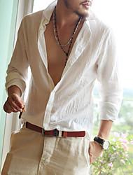 cheap -Men's Beach Shirt - Solid Colored / Long Sleeve