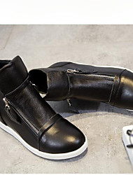 cheap -Women's Shoes Nappa Leather Spring Fashion Boots Boots Low Heel Round Toe Booties / Ankle Boots White / Black
