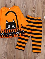 Недорогие -Дети Девочки Активный Праздники Мультипликация Длинный рукав Хлопок Набор одежды Оранжевый 100