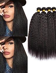 Недорогие -4 Связки Малазийские волосы Яки 8A Натуральные волосы Человека ткет Волосы Пучок волос One Pack Solution 8-28 дюймовый Естественный цвет Ткет человеческих волос Машинное плетение Лучшее качество 100