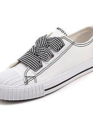 Недорогие -Жен. Полотно Весна лето Удобная обувь Кеды На плоской подошве Круглый носок Белый / Черный / Красный / Контрастных цветов
