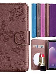 Недорогие -Кейс для Назначение Huawei Y6 (2018) Бумажник для карт / со стендом / С узором Чехол Бабочка / Цветы Твердый Кожа PU для Huawei Y6 (2018)