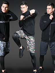 cheap -Men's Zipper 3pcs Yoga Suit - Black, Army Green, Camouflage Sports Print Spandex High Rise Shorts / Jacket / Tights Running, Fitness, Workout Long Sleeve Activewear Quick Dry, Sweat-wicking Stretchy