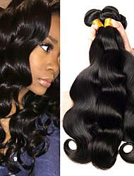 billige -3 Bundler Peruviansk hår Bølget Menneskehår Menneskehår, Bølget / Bundle Hair / Én Pack Solution 8-28 inch Menneskehår Vævninger Maskinproduceret Bedste kvalitet / Ny ankomst / 100% Jomfru Naturlig