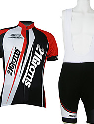 baratos -21Grams Homens Manga Curta Camisa com Bermuda Bretelle - Vermelho / Branco Moto Conjuntos de Roupas, Secagem Rápida, Respirável Poliéster