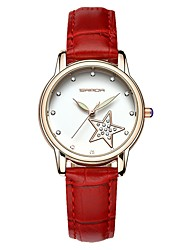 cheap -SANDA Women's Dress Watch Wrist Watch Japanese Quartz 30 m Water Resistant / Water Proof Calendar / date / day New Design Leather Band Analog Casual Fashion Black / White / Red - Black Brown Red