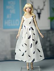 Недорогие -Платья Платья Для Кукла Барби Кремовый Эластичный сатин / Хлопко-полимерная смешанная ткань Платье Для Девичий игрушки куклы