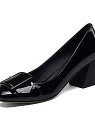 cheap -Women's Nappa Leather Winter Basic Pump Heels Chunky Heel Black
