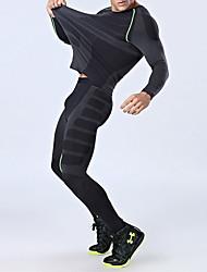 Недорогие -Муж. Вырез под горло Футболка и брюки для бега Черный / красный Зеленый / черный Виды спорта Сплошной цвет Эластан Спортивный костюм Наборы одежды Фитнес Тренировка в тренажерном зале Длинный рукав