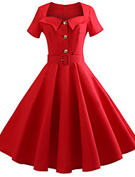 baratos -Mulheres Básico Rodado Vestido Sólido Altura dos Joelhos