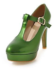 baratos -Mulheres Sapatos Couro Ecológico Primavera Verão Tira em T Saltos Salto Agulha Ponta Redonda Laranja / Rosa claro / Verde Escuro / Festas & Noite