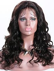 Недорогие -Remy Лента спереди Парик Бразильские волосы Волнистый Парик Стрижка каскад 150% Лучшее качество / новый Черный Жен. Длинные Парики из натуральных волос на кружевной основе