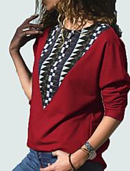 abordables -sweat-shirt à manches longues pour femme - bloc de couleur col rond