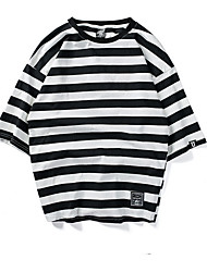 billige -mænd går ud t-shirt - stribet rundt hals