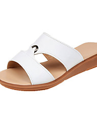 cheap -Women's Shoes PU(Polyurethane) Summer Slingback Slippers & Flip-Flops Wedge Heel White / Light Yellow / Blue