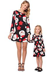 cheap -2pcs Adults / Kids Mommy and Me Galaxy Long Sleeve Dress
