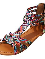 Недорогие -Жен. Обувь Полиуретан Лето Удобная обувь Сандалии На плоской подошве Открытый мыс Пряжки Лиловый / Розовый