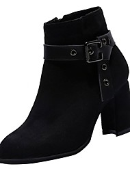 cheap -Women's Suede Fall Bootie Boots Chunky Heel Round Toe Black