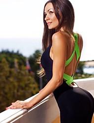 baratos -Mulheres Patchwork Terno de Yoga - Amarelo, Fúcsia, Verde Esportes Estampa Colorida Body Ioga, Fitness, Ginásio Sem Manga Roupas Esportivas Respirável, Compressão, Butt Lift Elasticidade Alta