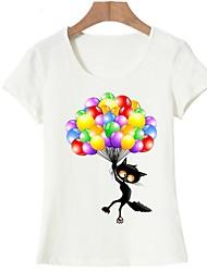 cheap -Women's Basic T-shirt - Animal Cat, Print