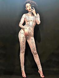 cheap -Dance Costumes Exotic Dancewear / Rhinestone Bodysuit Women's Performance Spandex Crystals / Rhinestones Long Sleeve Natural Leotard / Onesie
