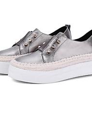 baratos -Mulheres Sapatos Confortáveis Pele Napa Primavera Tênis Sem Salto Ponta Redonda Verde / Amêndoa