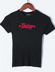 billige -Dame kortærmet slank pullover - brev rundt hals