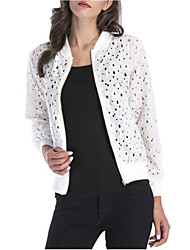 cheap -Women's Street chic / Sophisticated Jacket - Solid Colored, Cut Out / Lace Trims