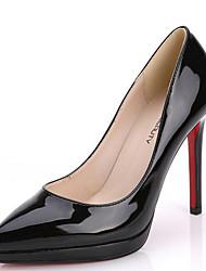 baratos -Mulheres Sapatos Couro Envernizado Primavera Conforto Saltos Salto Agulha Preto / Rosa claro