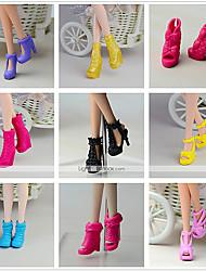 tanie Ubranka dla lalek Barbie-Obuwie Dla Lalka Barbie Czarny PVC Obuwie Dla Dziewczyny Lalka Zabawka
