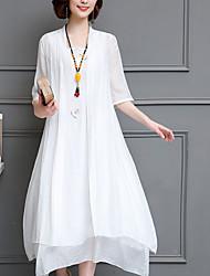 Недорогие -Жен. Шинуазери (китайский стиль) Хлопок А-силуэт / Из двух частей Платье - Однотонный Средней длины