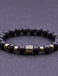 cheap -Men's Cubic Zirconia / Volcanic Stone Stylish / Beads Strand Bracelet - Creative Stylish, Vintage, Casual / Sporty Bracelet Black / Silver / Rose Gold For Daily / Street
