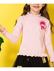 cheap -Kids Girls' Basic Solid Colored Patchwork Long Sleeve Cotton Sweater & Cardigan