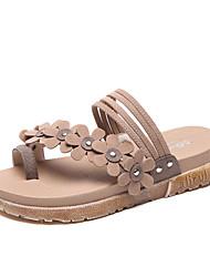 Недорогие -Жен. Обувь Полиуретан Лето Удобная обувь Сандалии Микропоры Бежевый / Зеленый / Хаки
