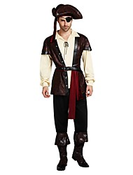 cheap -Pirates of the Caribbean Costume Men's Halloween Carnival Masquerade Festival / Holiday Halloween Costumes Outfits Coffee Solid Colored Halloween Halloween