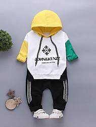Недорогие -малыш Мальчики Черный и красный Однотонный / Пэчворк Длинный рукав Набор одежды