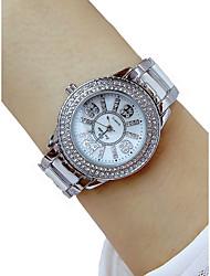 abordables -Femme Montre Bracelet Quartz Chronographe Montre Décontractée Adorable Alliage Bande Analogique Luxe Rigide Argent - Argent / Imitation de diamant