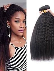 Недорогие -3 Связки Бразильские волосы Яки 8A Натуральные волосы Человека ткет Волосы Пучок волос One Pack Solution 8-28 дюймовый Естественный цвет Ткет человеческих волос Машинное плетение