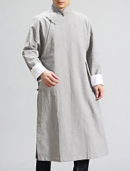 cheap -Men's Long Cotton / Linen Trench Coat - Solid Colored / Long Sleeve