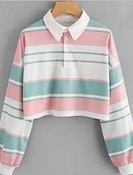 cheap -women's going out long sleeve slim sweatshirt - color block shirt collar